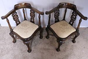 Pair Antique Decorative English Chippendale Corner Baby Chairs New Upholstery