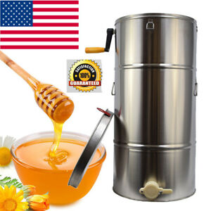 usa Ship two Frame Stainless Steel Bee Honey Extractor Honeycomb Drum Equipment