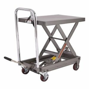 500 Lb Capacity Rolling Table Hydraulic Cart W foot