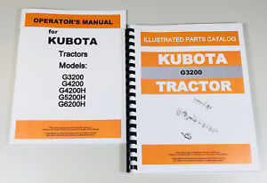 Kubota G3200 Tractor Operators Owners Manual Parts Catalog Set