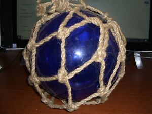 Cobalt Blue Hand Blown Glass Buoy Ball With Rope 8 Diameter