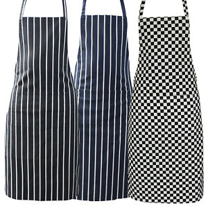 Striped Chef Aprons 100 Cotton Butcher Cooking Kitchen Catering Bbq Bib Pockets