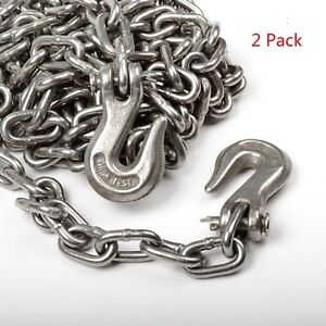2pack 5 16 X 14ft Tow Chain Tie Down Binder Chain Flatbed Truck Trailer Safety