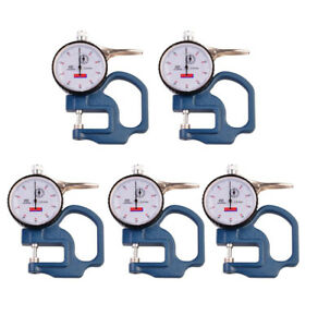 5x 0 10mm Dial Thickness Gauge Leather Cloth Paper Film Thickness Meters 0 01mm