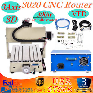 3 Axis 3020 Usb Cnc Router Drilling Milling 3d Cutter Engraver Machine 300w Vfd
