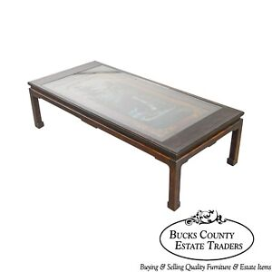 Chinese Vintage Hand Painted Scenic Waterfall Panel Coffee Table