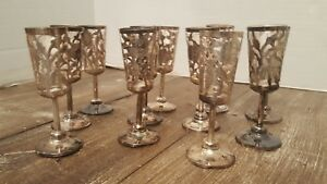 11 Decorative Sterling Silver Unusual Cordial Cups Glass Inserts Only
