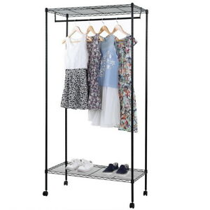 Heavy Duty Commercial Clothing Rolling Collapsible Rack Garment Rack Double Tier