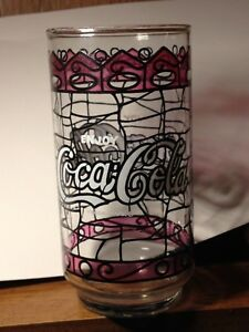 VINTAGE TIFFANY STYLE STAINED GLASS COCA-COLA DRINKING GLASS