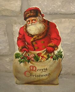 Bethany Lowe Santa Claus Merry Christmas Sign Primitive French Country Decor