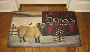 Lamb Tree Holiday Throw Rug Mat Christmas Gift Primitive French Country Decor