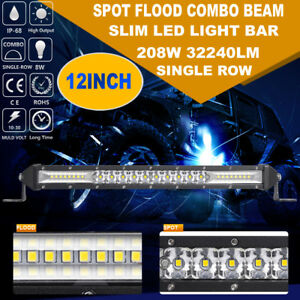 12inch 208w Slim Led Work Light Bar Single Row Spot Flood Combo 4wd Offroad 10