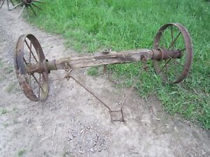 Vintage Antique Wooden Wagon Wheel With Axle