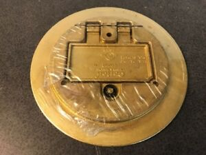 Carlon E97br H Duplex gfci Round Floor Box Cover Brass Sealed In Plastic New
