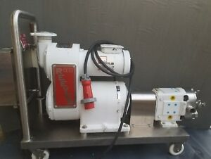 Stainless Waukesha 030 Pump Adjustable Reeves Drive B 222 2 Hp 3phase Cart