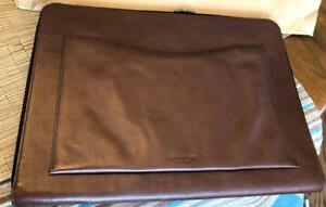 Coach Men s Bleecker 65101 Scf Brown Mahagony Leather Zip around Portfolio Case