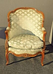 Antique Carved French Louis Xv Style Barrel Back Sage Bergere Accent Chair Down