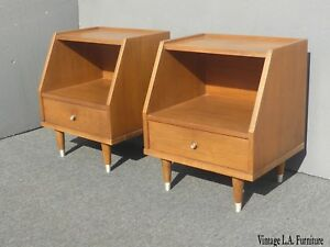 Pair Vintage Mid Century Danish Modern Two Tier Nightstands By B P John Usa