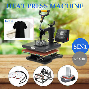 12 X 10 T Shirt Heat Press Machine For Mug Hat Plate Cap Mouse Pad 5 In 1
