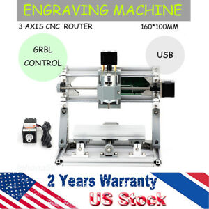 3 axis Cnc 1610 Router Machine 500mw Laser Engraving Milling Pcb Pvc Grbl Usb