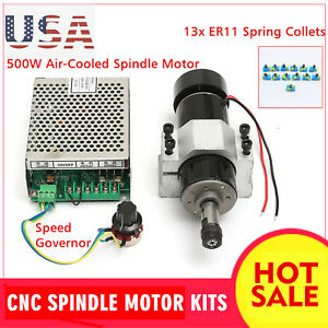 500w Cnc Spindle Motor Air Cooling Brushless Clamp Speed Governor 13 Er11 Collet