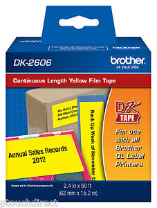 Brother Dk2606 2 3 7 Continuous Yellow Film For Ql800 Ql 800 Label Printers