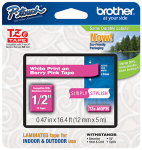Brother 1 2 12mm White On Pink P touch Tape For Pte300 Pt e300 Label Maker