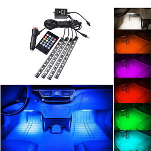 4pcs 12v 9 Led Car Interior Accessories Floor Decorative Atmosphere Lamp Lights
