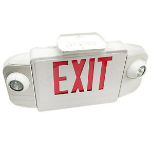 White Red Led Exit Sign Slim Low Profile With Battery Backup
