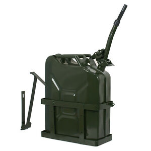 Jerry Can 5 Gallon 20l Gas Fuel Steel Tank Emergency Backup Army Military Holder