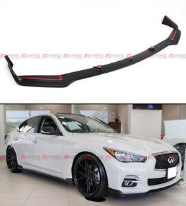 Front Bumper Chin Lip Spoiler Splitter For 2014 2017 Infiniti Q50 Base Premium