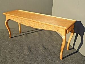 Vintage Rustic French Country Solid Wood Yellow Crackle Side Entry Console Table