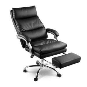 2layered High Back Executive Office Chair Reclining Leather Management Footrest