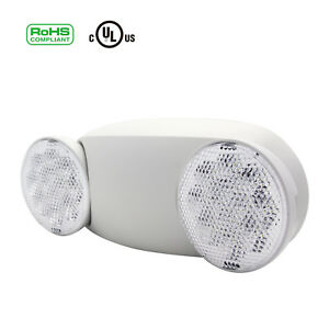 White Led Emergency Exit Light Lamps Lighting Fixture Twin Round Heads Universal