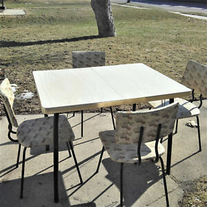 Vintage 1950s Mid Century Atomic Formica Chrome Kitchen Table 4 Chairs
