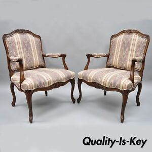 Pair Of Drexel Heritage French Provincial Louis Xv Style Armchairs Arm Chairs