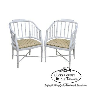 Faux Bamboo Vintage Pair Of White Distressed Painted Barrel Back Arm Chairs