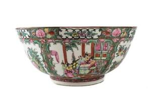 X Large Chinese Porcelain Rose Medallion Basin Bowl 18 Hand Painted Scenes