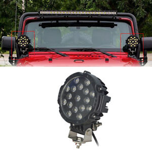 2 x 7 51w Round Off Road Led Work Lights For Jeep Truck Bumper Driving Black