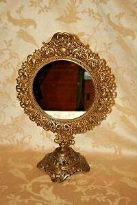 Ornate Vintage Gilt Cast Iron 11x17 Round Pedestal Table Top Swivel Mirror