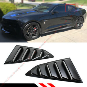 For 2016 18 Chevy Camaro Matt Black Side Window 1 4 Quarter Louver Cover Vents