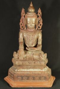 19th Century Antique Crowned Burmese Buddha From Burma Antique Buddha Statues