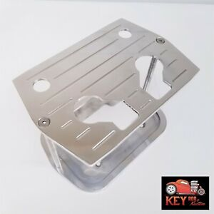 Optima Polished Ball Milled Aluminum Battery Hold Down Tray 34 78 Red Yellow Top