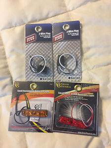 4 New Led Car Vehicle Auxiliary Light Repair Part Lot Set 2 Wire Plug Amber Red