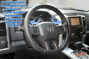 2009 2012 Dodge Ram 1500 2500 3500 Leather Wrap Steering Wheel Cover Black