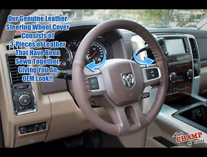 2009 2012 Dodge Ram 1500 2500 3500 Leather Wrap Steering Wheel Cover Dk Brown