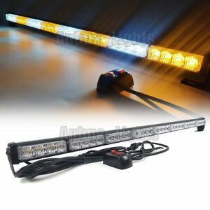 33 32w Led Traffic Advisor Emergency Warning Strobe Stick bar Light Amber White