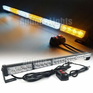 25 6 Light Bar Led Traffic Advisor Emergency Beacon Warn Strobe Amber White 12v