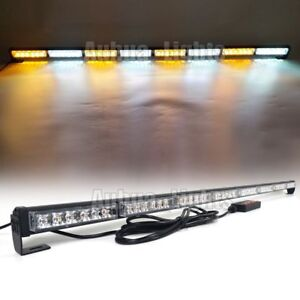 50 Light Bar Led Emergency Beacon Traffic Advisor Warn Truck Strobe Amber White