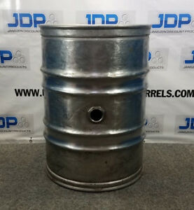 55 Gallon Stainless Steel Wine Drum Used Closed Head With Side Bung Openin